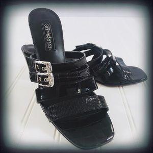 "Brighton Black Tina Slip On 2.5"" Heel Sandals"